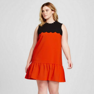 VICTORIA BECKHAM Drop Waist Scallop Dress 2x NWT